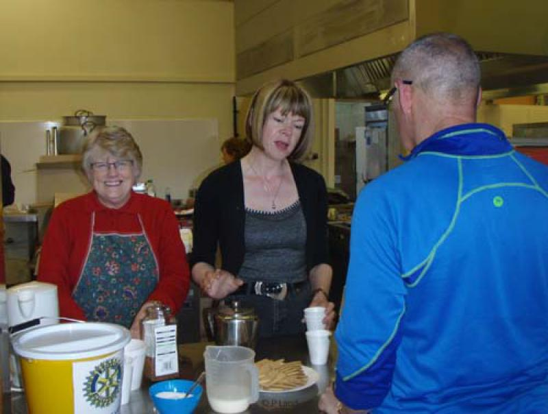 Wensleydale Wander 2013 Report - Anne Calver and Wendy Morton serving food at the finish