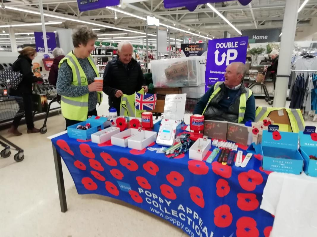 ANNUAL REMEMBRANCE DAY SERVICE TRURO 2019 - POPPY COLLECTION 2019 AT SAINSBURYS TRURO