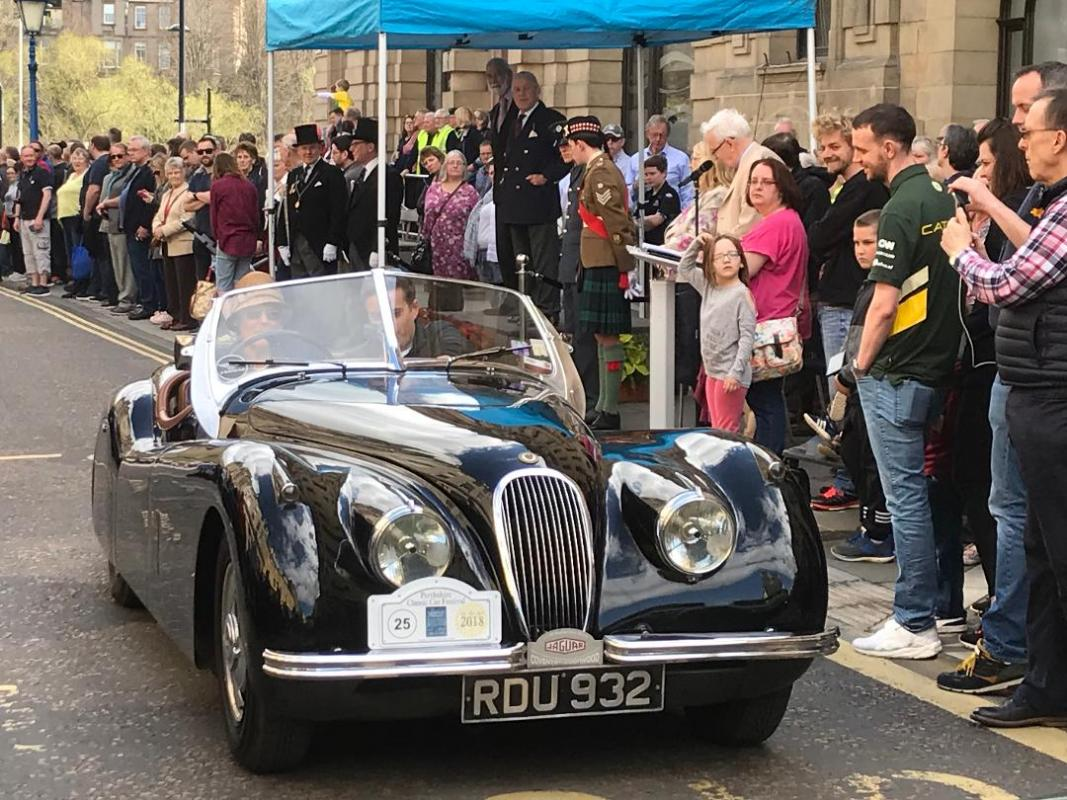 Perthshire Classic Car Festival - Parade car leaving Tay Street Perth after Royal Salute and Commentary