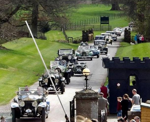 Perthshire Classic Car Festival - Parade Cars arriving at Scone 21st April 2018