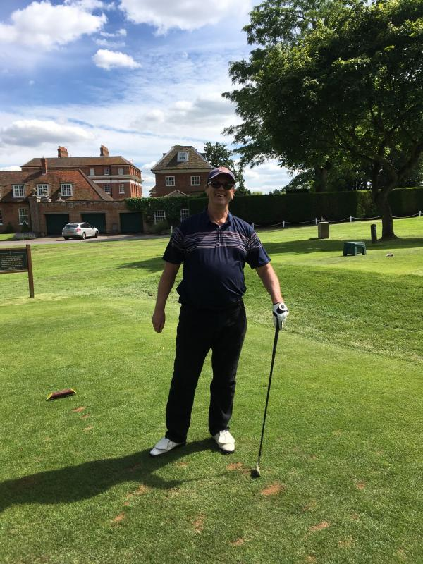 AM-AM Golf Competition - President Paul Webster ready to hit the ball onto the green at No 7, to try and claim his prize.