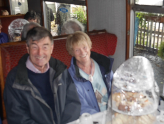 Afternoon tea on the Boness and Kinneil Railway - Peter and Paddy