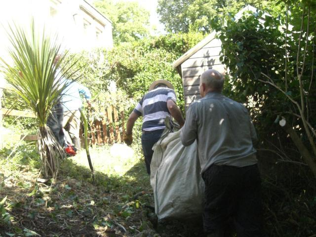 Gardening at Peggy Dodds - The cuttings were collected up and deposited in an 8 cubic metre skip.