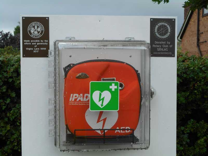 Life Saving Defibrillator for Battle Residents - The defibrillator at the entrance to Virgins Croft Allotments