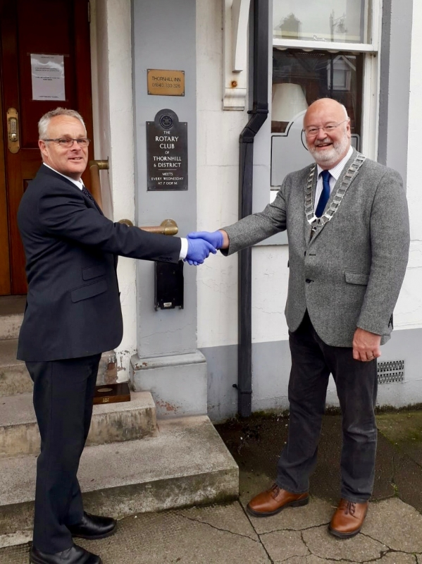 Rotarian Keith Shedden takes over as Club President 2020-2021 - Pic 2, L-R Michael Keene presenting Keith Shedden with the chain of office