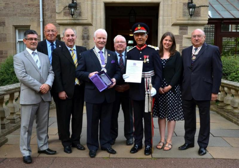 Rotary Club of Carluke - President Archie Ralston with Lord Lieutenant Mushtaq Ahmad OBE, Deputy LL Club Office Bearers and Sponsors inc Aileen Campbell MSP - Presentation in front of Cartland Bridge Hotel 1