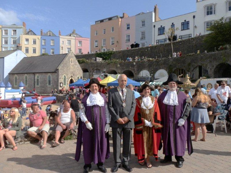 Family Fun Harbour Spectacular 2013 - Pictured are the Mayor of Tenby Cllr Sue Lane with Rotary Club of Tenby President Peter Oeppen with Mace Bearers John Morgan (right) and Eric Vokes
