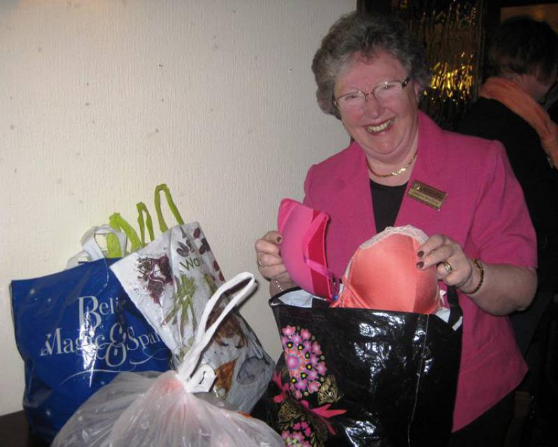 BUST -  help women in the 3rd world and breast cancer research. - Pres Sandra with some of the 800 bras collected at District 1260 meeting on 19.3.14