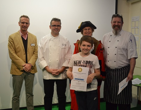 Rotary Young Chef Competition 2016-2017 - Receives his certificate from  Rotary President Peter Summers, Mayor Julia Wakelam, and judges Lyndon Schoefield-Harvey(right) and Pascal Canevet