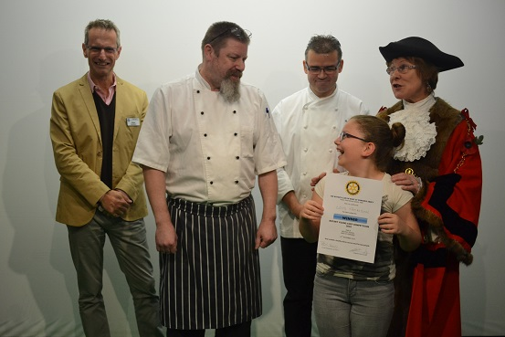 Rotary Young Chef Competition 2016-2017 - Receives her certificate from Rotary President Peter Summers, Mayor Julia Wakelam, and judges Lyndon Schoefield-Harvey(left) and Pascal Canevet