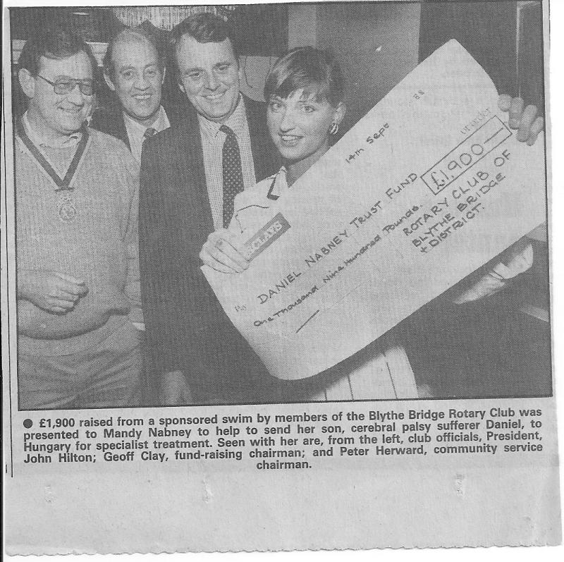 Our Club History - Presentation of Cheque