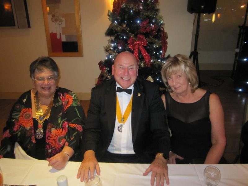 BLACKPOOL SOUTH ROTARY CLUB 2013  CHARTER DINNER.  - President Gail Williams (Palatine), President Elect Stephen Simpson (Blackpool) and Mrs Anne Simpson.