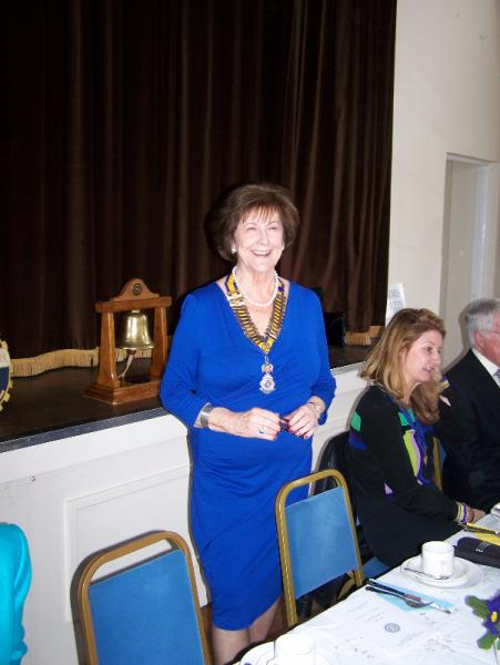 Windsor and Eton Inner Wheel Tea Party - President Jean Davis welcoming the members