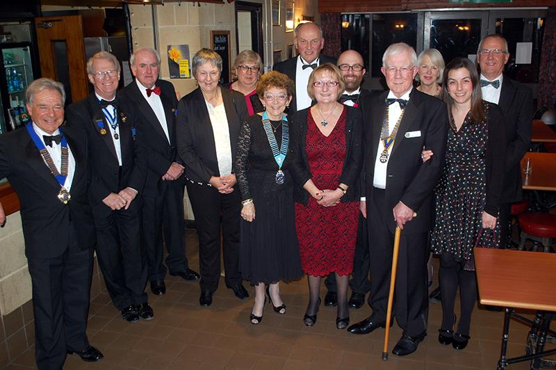 90 Years of history - Frome Rotary Club - Members of District and Guests with President Jerry lewis