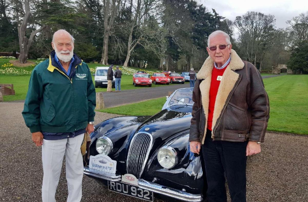 Perthshire Classic Car Festival - Prince Michael of Kent & Colin Stewart after he had just driven Colin's XK120 Jaguar