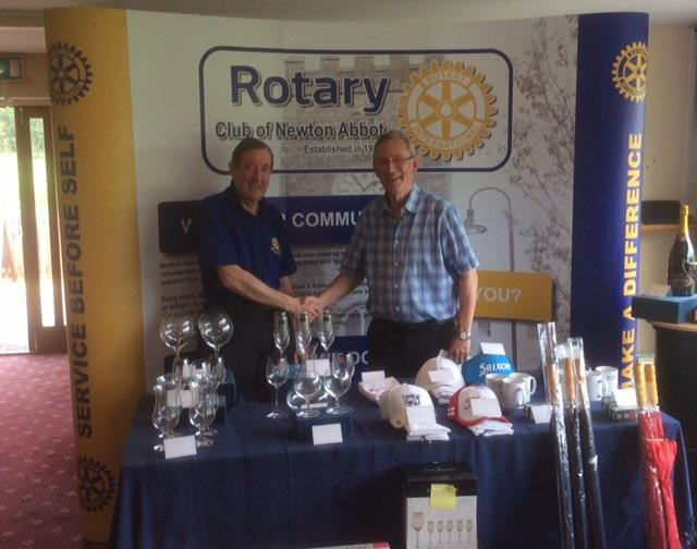 Rotary Club of Newton Abbot Golf Day - Stover - Golf Day organiser with Hugh Anderson - displaying the Prize Table.