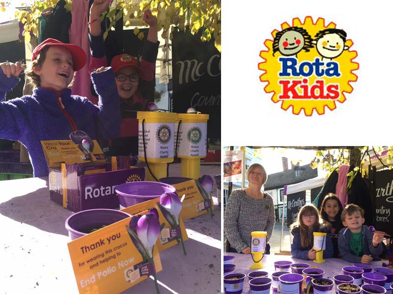 Growing Together to End Polio Now - Rotakids from the Pumphouse Project planted Purple4Polio Crocus pots and sold them at the Apple Day market