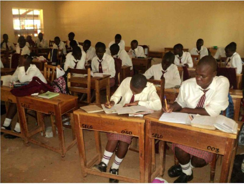 Provision of Information Technology to the St. Elizabeth Lureko Girls Secondary School in Mumias, Kenya - well spaced seating arrangements in each class