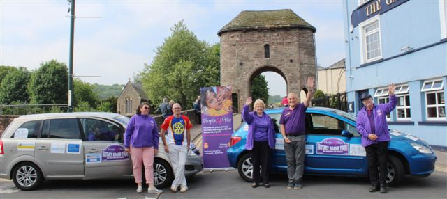 Purple4Polio Rotary Grand Tour visits Monmouth - Teams in front of Monnow Bridge