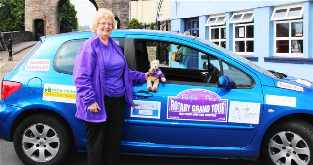 Purple4Polio Rotary Grand Tour visits Monmouth - Team car plus mascot