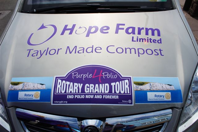 Purple4Polio Rotary Grand Tour visits Monmouth - Team car