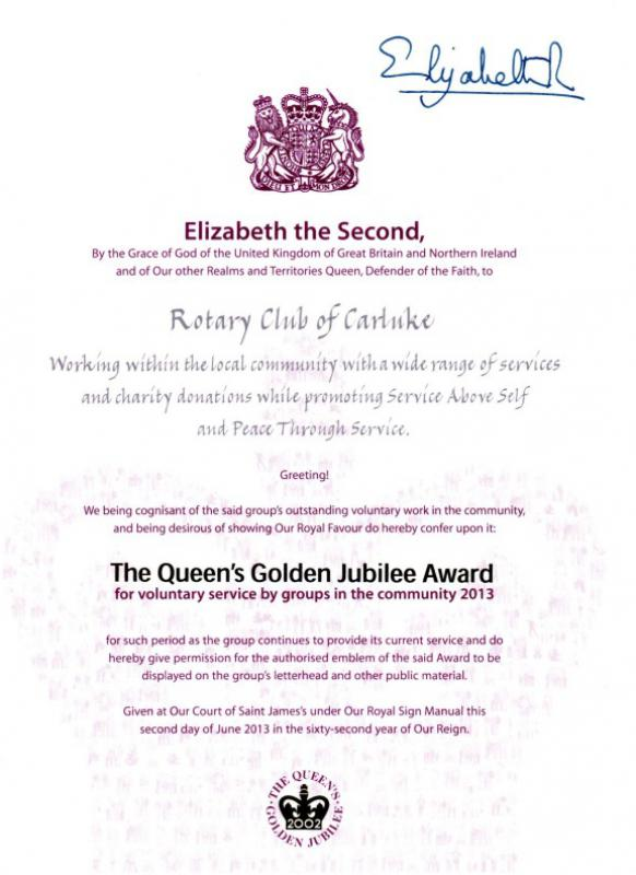 Rotary Club of Carluke - Queens Award for Voluntary Service 2013 Certificate & Citation