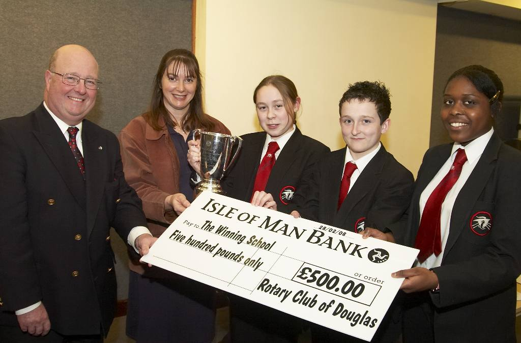 Intermediate Public Speaking 2008 - St. Ninian's High School team with their teacher receive their prize.