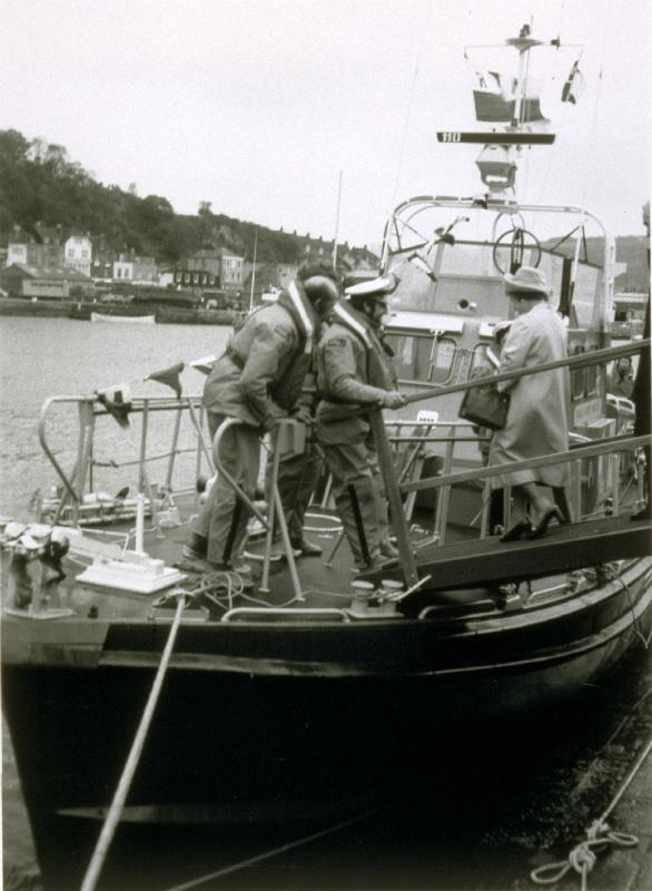 The Rotary Life Boat - Rotary Service - Falmouth & Dover, UK - She was helped aboard by the crew of the life boat