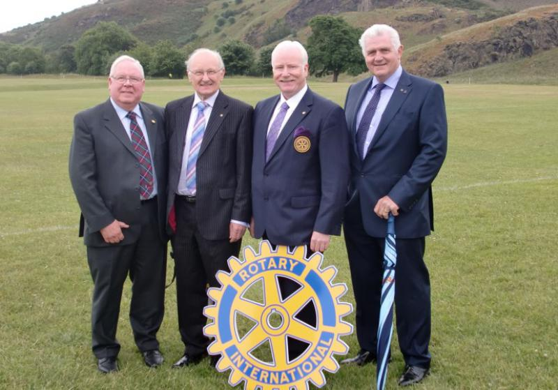 Rotary Club of Carluke - Jack Watson(PHF,)Michael Arthur(PHF),President Archie Ralston & John Perryman(PHF) Queens Garden Party 02 July 2013