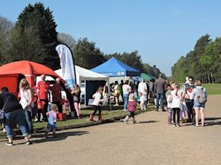 Easter Egg Trail 2019 - Families gather by the Gazebo before starting