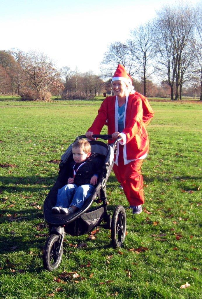 Rotary Fun Run in the park - 3rd Pushchair arrived at the finishing line