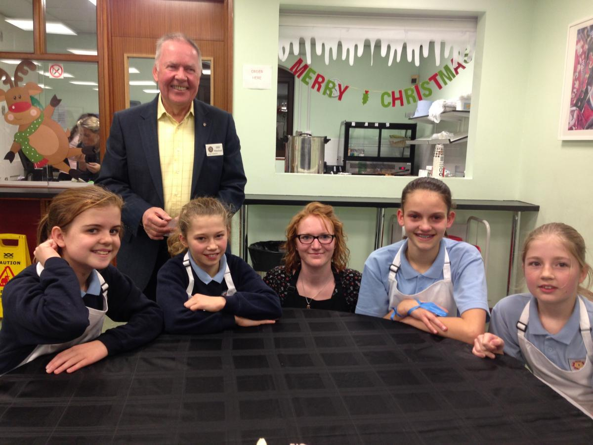Rotary Young Chef Competition - Front from the left: Ellie, Mae, Mrs Wright, Summer and Jessica. Behind: Rotary Club Of Market Bosworth organiser John Whitehead.