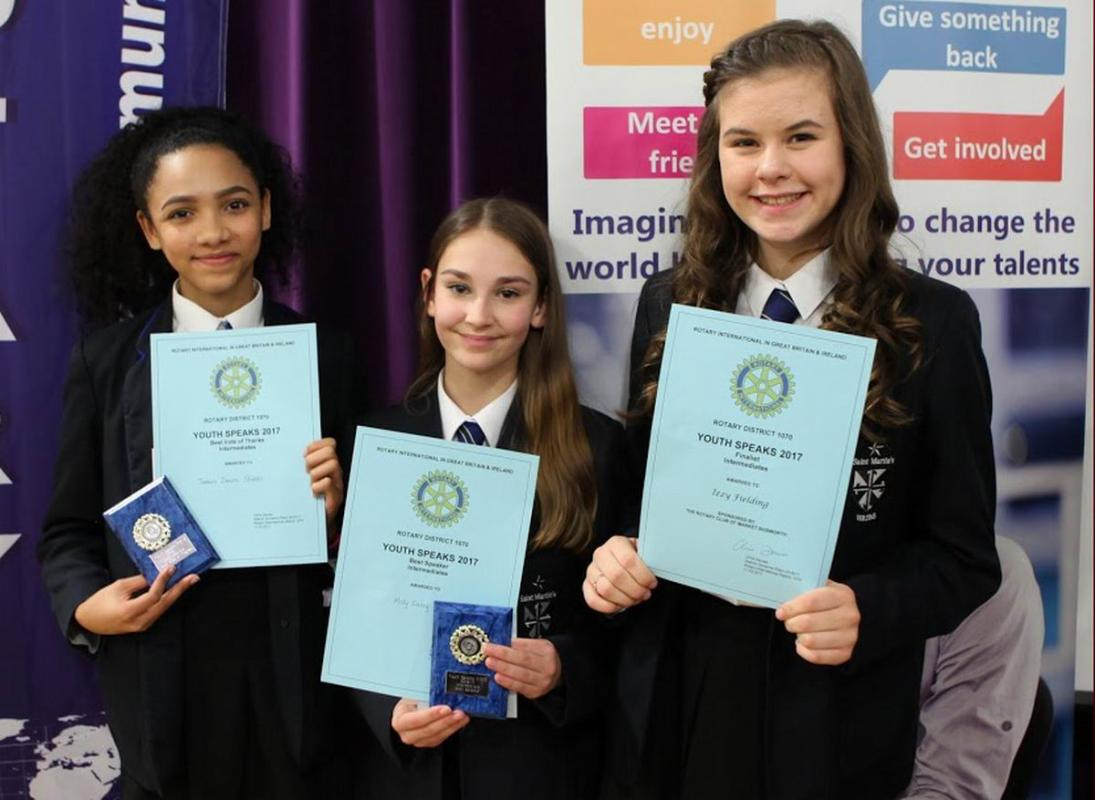 Rotary Youth Speaks Competition 2016. St Martin's Progress To The Regional Final - Tamara Deacon-Stubbs, Molly Carey and Izzy fielding