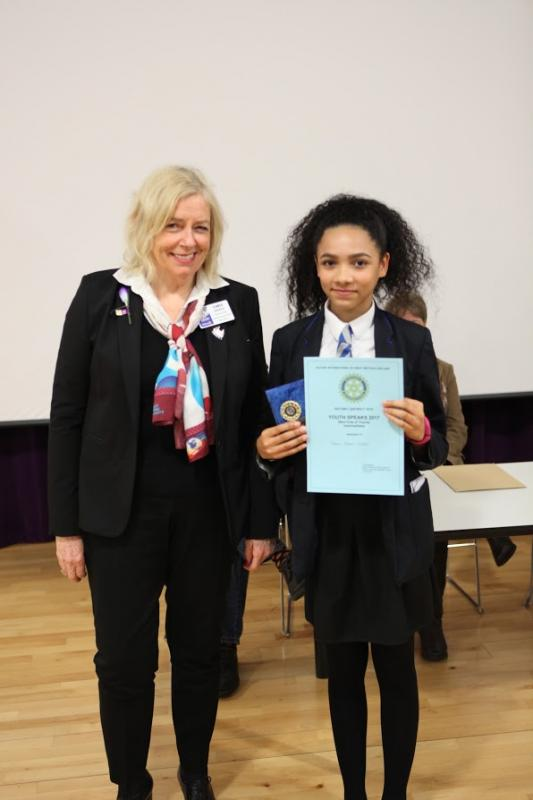 Rotary Youth Speaks Competition 2016. St Martin's Progress To The Regional Final - Tamara-Deacon Stubbs receives her certificate and medal from Rotary District Governor-elect Chris Davies