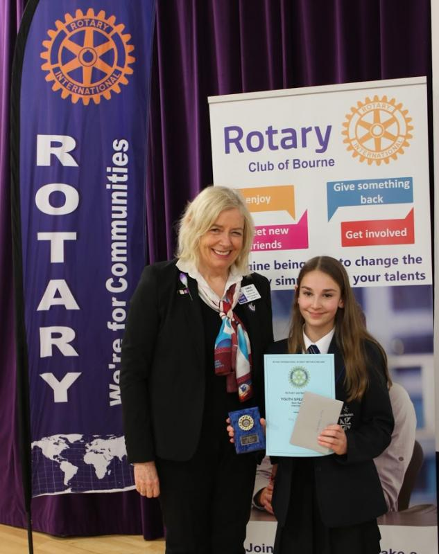 Rotary Youth Speaks Competition 2016. St Martin's Progress To The Regional Final - Molly Carey receives her certificate and medal from Rotary District Governor-elect Chris Davies.
