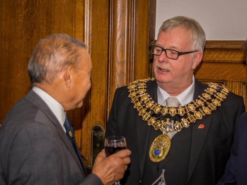 Tea with the Mayor and Mayoress of Stockport - Satish talks to the Mayor