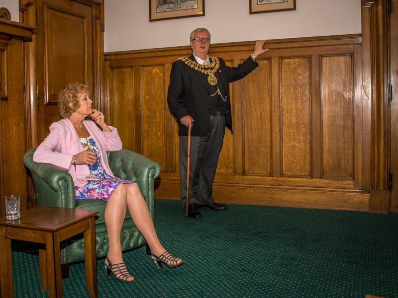 Tea with the Mayor and Mayoress of Stockport - The Mayor addressed the group.