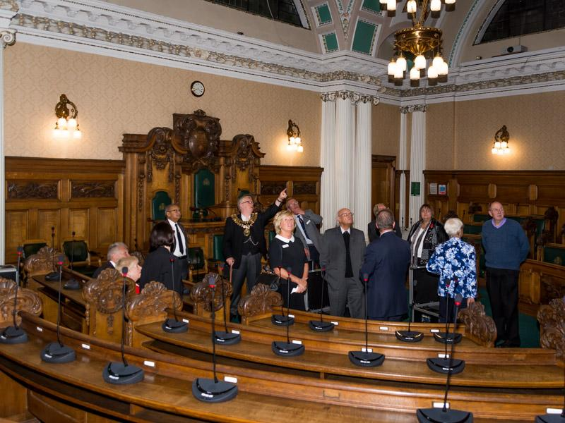 Tea with the Mayor and Mayoress of Stockport - Tour of the Council chamber.