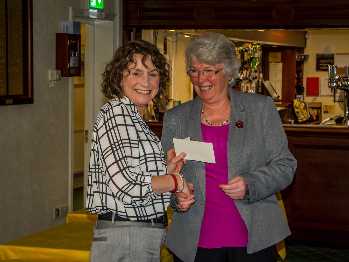 Open Gardens Celebration Dinner - Linda presents a cheque to Nicola from the Alex Hulme Foundation, one of our named charities for the event.