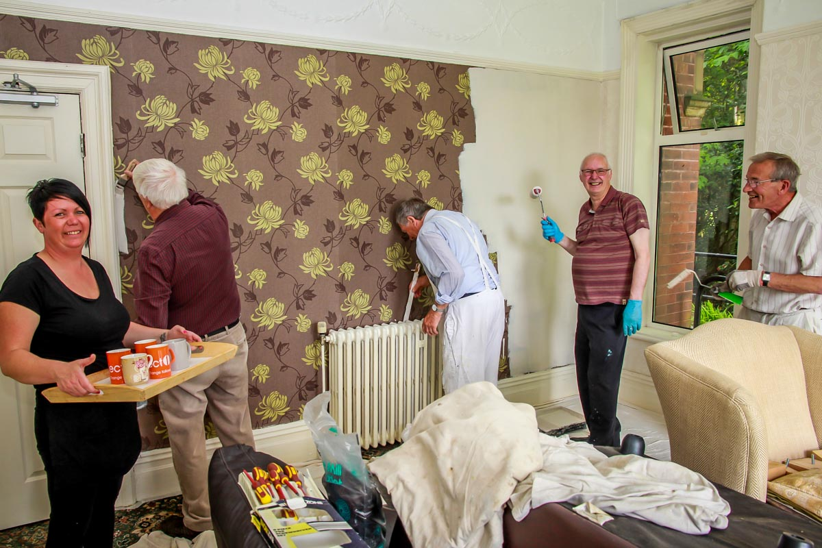 Decorating at Norwood House - A welcome cuppa keeps the workers happy.