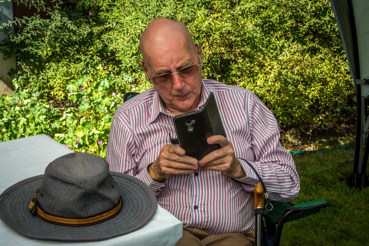 e-Club BBQ - DGE Tony Graves getting to grips with e-Club technology.