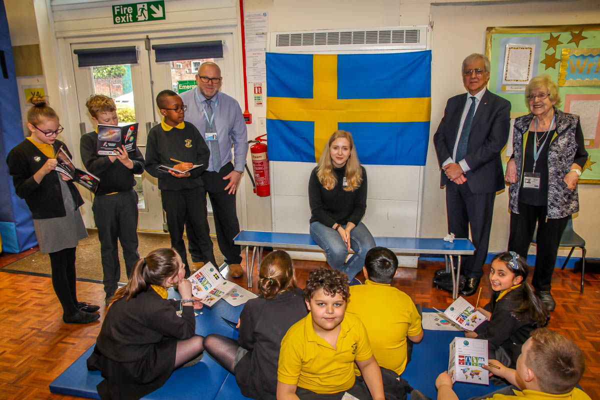 RocketWorld - From left to right: Patrick Rayner (headteacher), Jenny Nilsson (a volunteer from Sweden), Najib Yousif and Joan Ebbrell (Rotary Club of Stockport Lamplighter).