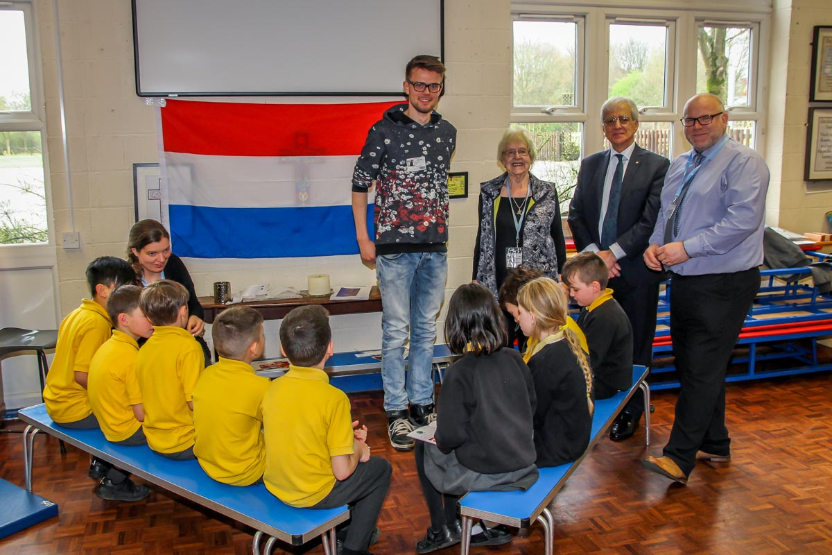 RocketWorld - Bob Vernooij (a volunteer from the Netherlands), Joan Ebbrell and Najib Yousif (Rotary Club of Stockport Lamplighter) and Patrick Rayner (headteacher).