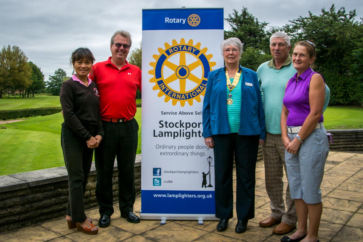 Charity Golf Day - President Linda welcomes Mark and his team.