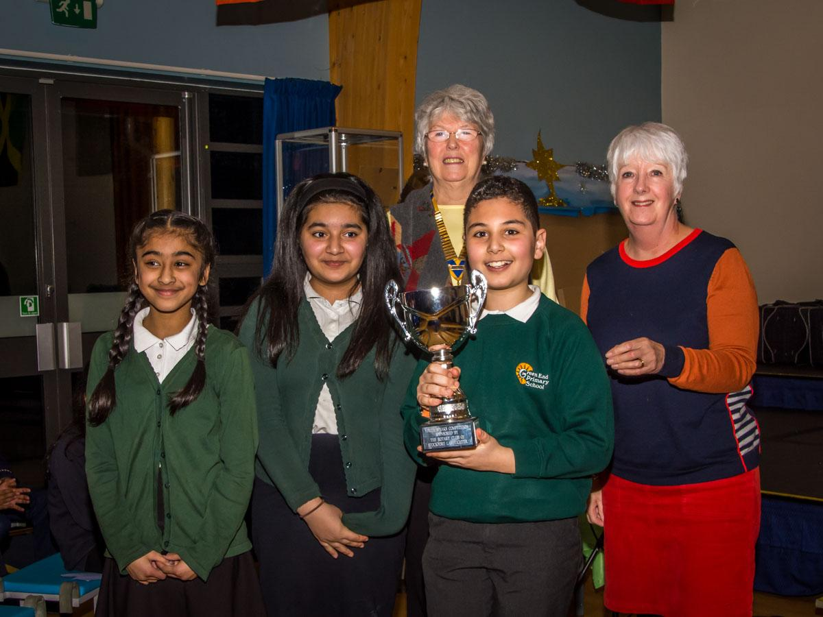Youth Speaks 2018 - Winning Team, Green End Primary School with their trophy.