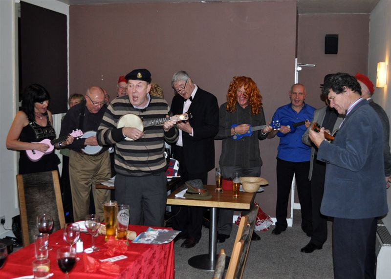 Christmas Party - The ukulele band finally get on.