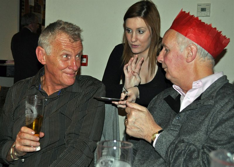 Christmas Party - Richard and Bill sort out the bill.