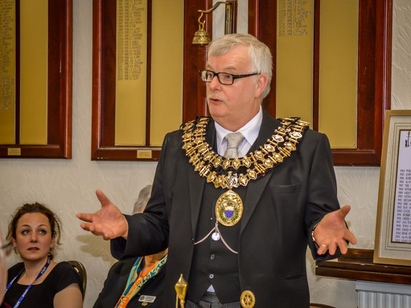 Visit by the Mayor and Mayoress of Stockport - The Mayor addresses the club.