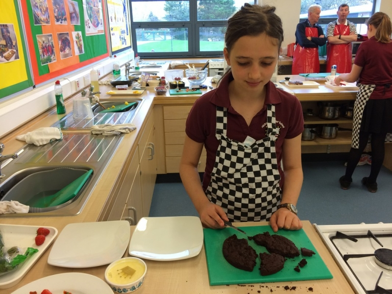 Young Chef 2016 at Richard Lander School - Third placed Abbie preparing her chocolate dessert