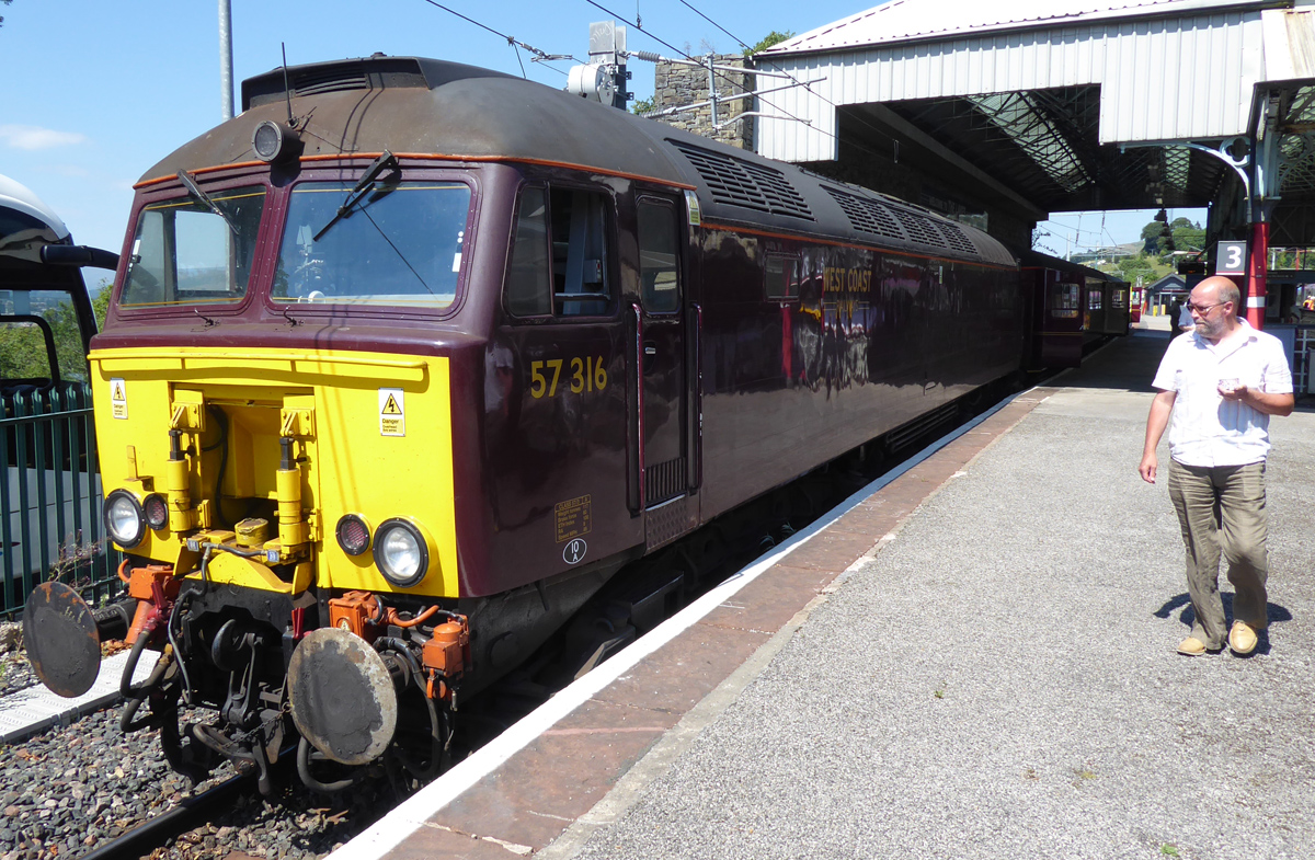 Rotarians' (Lads') Day Out! - Graham checks out the other end of the train with 57316 waiting to depart for Oxenholme.